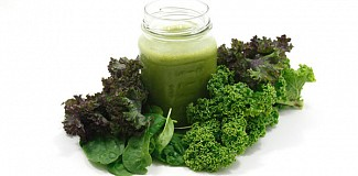 Spinach, Kale and a Glass of Green Smoothie.